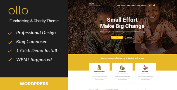 Ollo Fundraising Preview Wordpress Theme - Rating, Reviews, Preview, Demo & Download