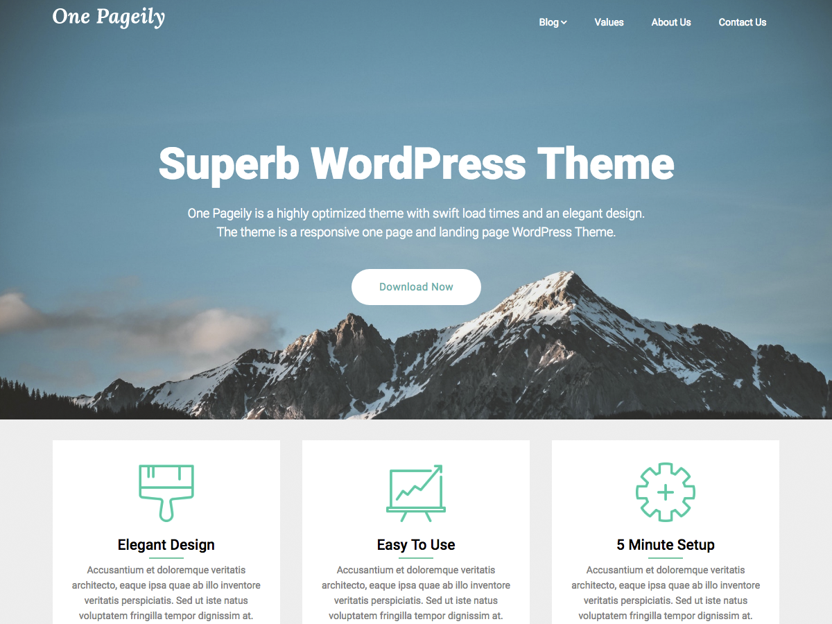 One Pageily Preview Wordpress Theme - Rating, Reviews, Preview, Demo & Download