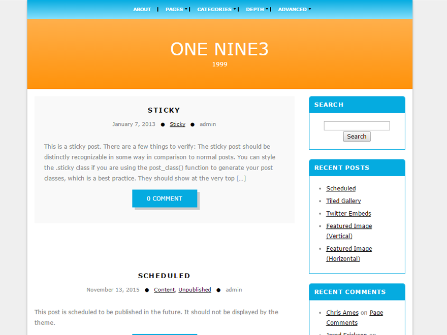 Onenine3 Preview Wordpress Theme - Rating, Reviews, Preview, Demo & Download