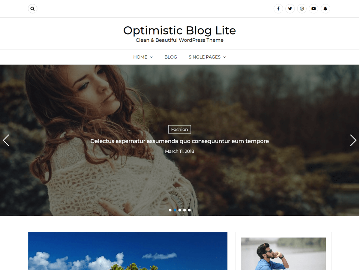 Optimistic Blog Preview Wordpress Theme - Rating, Reviews, Preview, Demo & Download