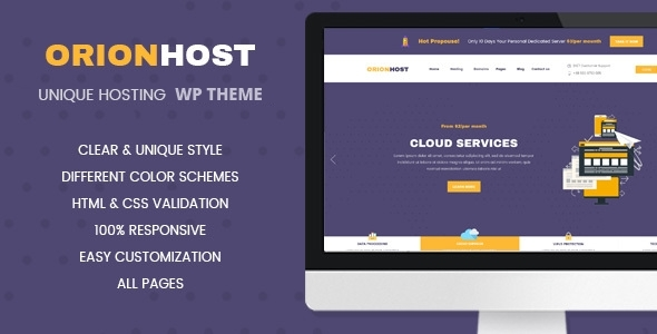 OrionHost Preview Wordpress Theme - Rating, Reviews, Preview, Demo & Download