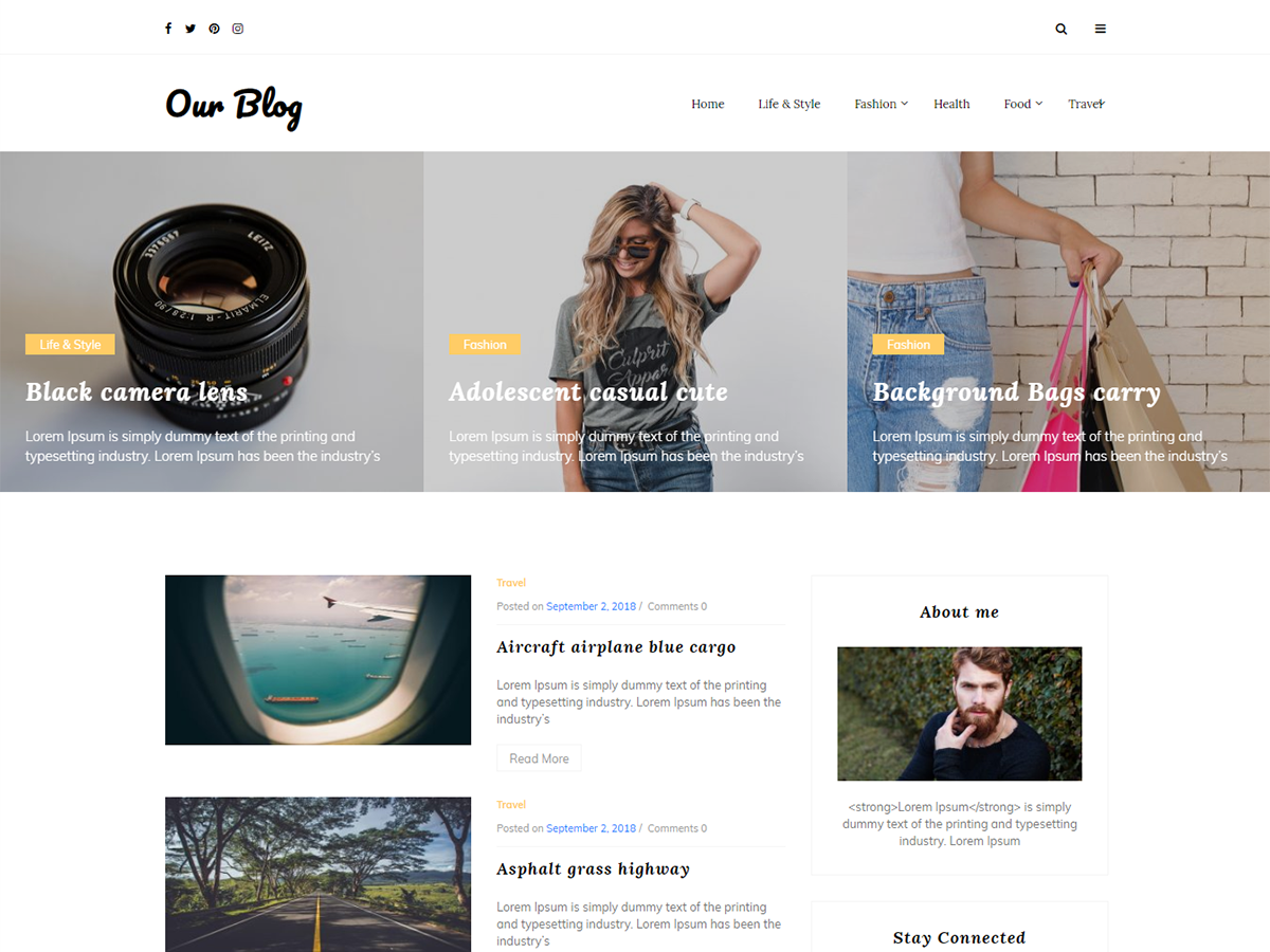 Our Blog Preview Wordpress Theme - Rating, Reviews, Preview, Demo & Download