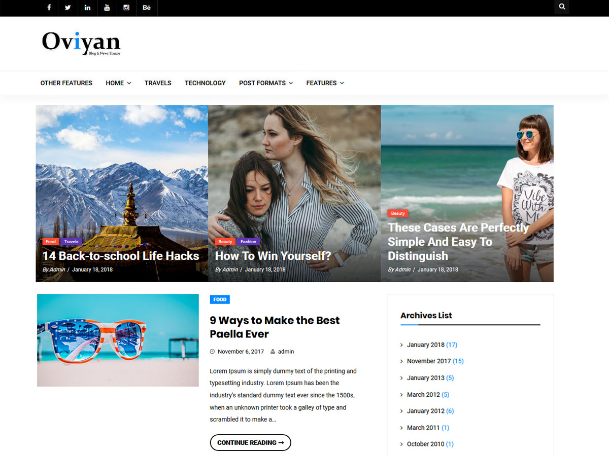 Oviyan Lite Preview Wordpress Theme - Rating, Reviews, Preview, Demo & Download