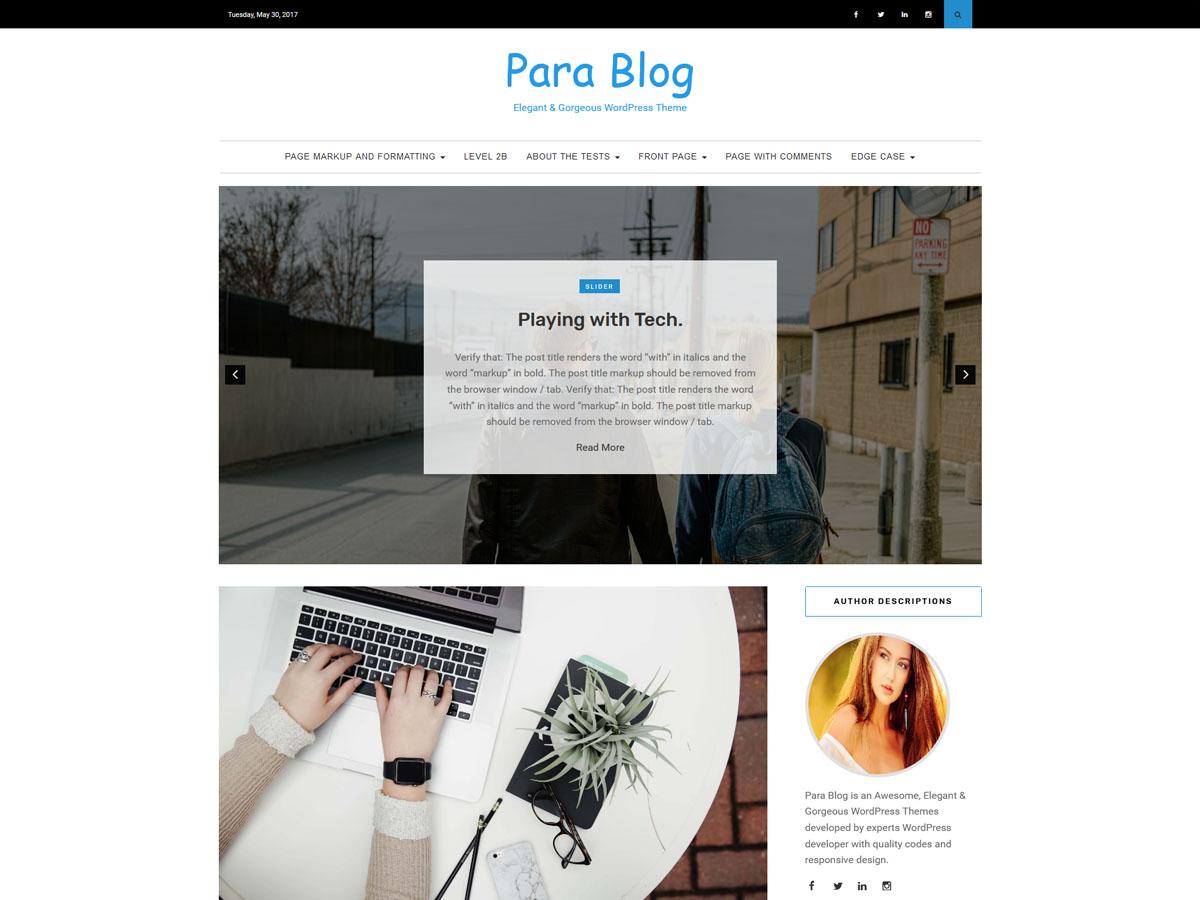 Para Blog Preview Wordpress Theme - Rating, Reviews, Preview, Demo & Download