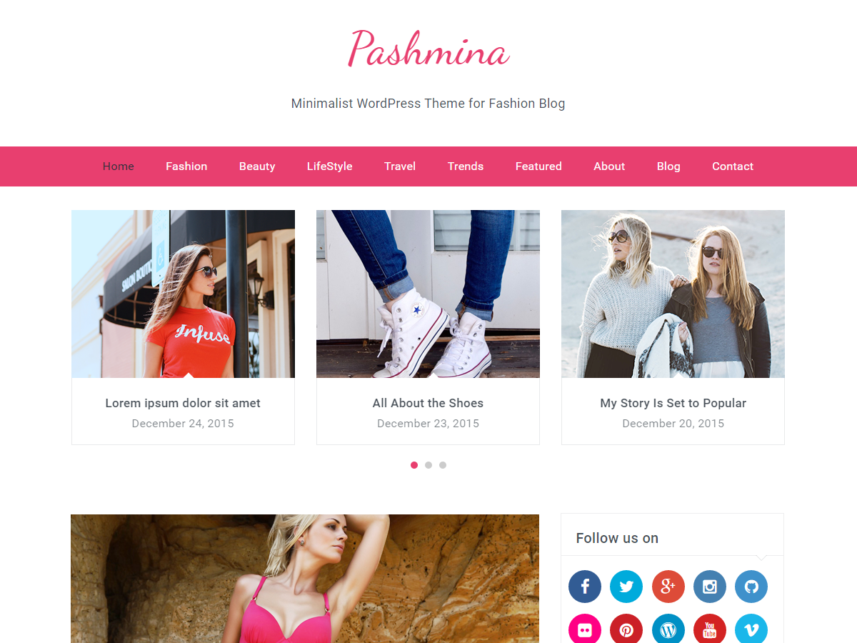 Pashmina Preview Wordpress Theme - Rating, Reviews, Preview, Demo & Download
