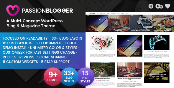 Passion Blogger Preview Wordpress Theme - Rating, Reviews, Preview, Demo & Download