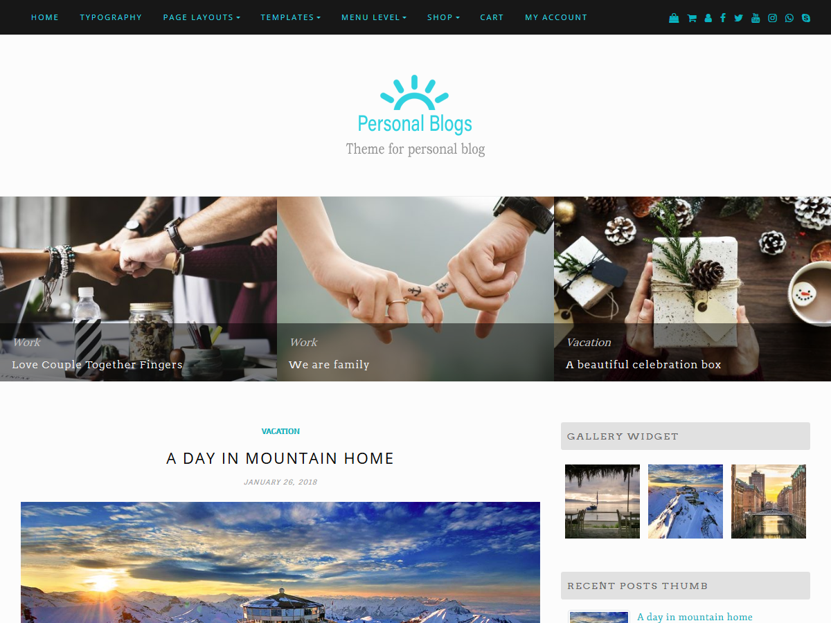 Personal Blogs Preview Wordpress Theme - Rating, Reviews, Preview, Demo & Download