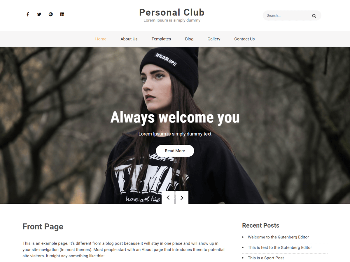 Personal Club Preview Wordpress Theme - Rating, Reviews, Preview, Demo & Download