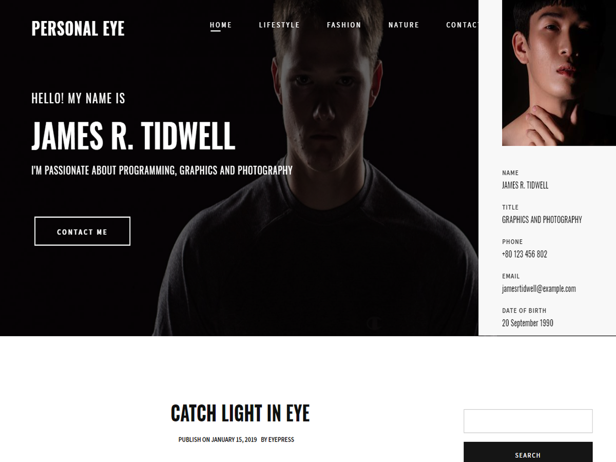 Personal Eye Preview Wordpress Theme - Rating, Reviews, Preview, Demo & Download