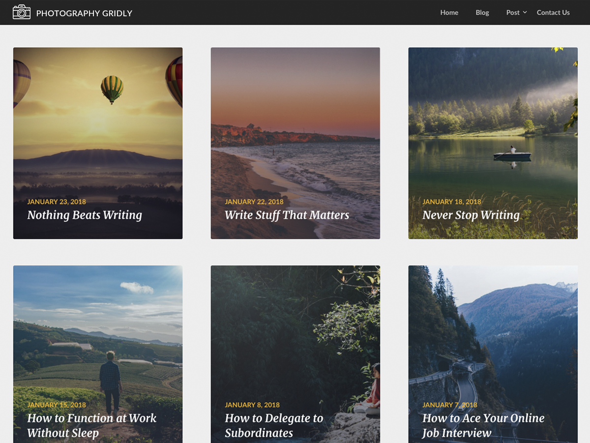Photography Gridly Preview Wordpress Theme - Rating, Reviews, Preview, Demo & Download