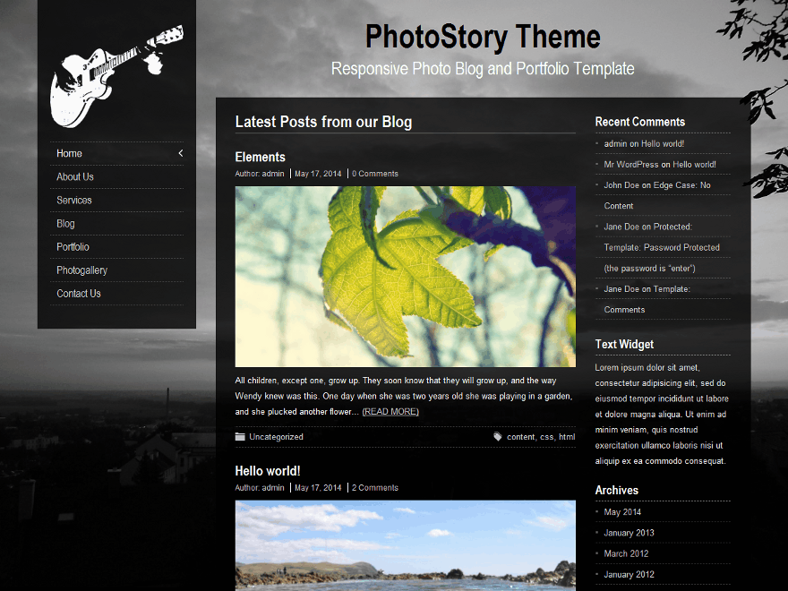 PhotoStory Preview Wordpress Theme - Rating, Reviews, Preview, Demo & Download