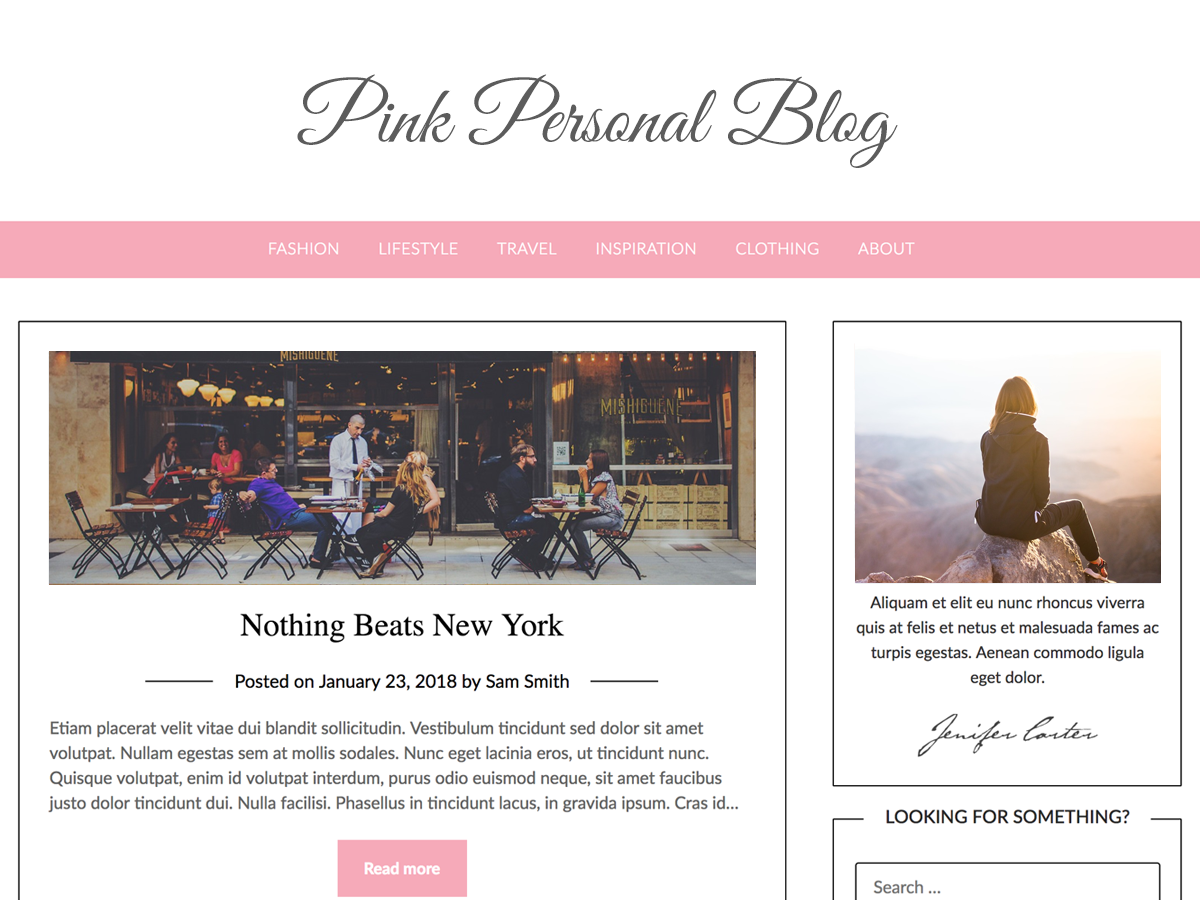 Pink Personal Preview Wordpress Theme - Rating, Reviews, Preview, Demo & Download