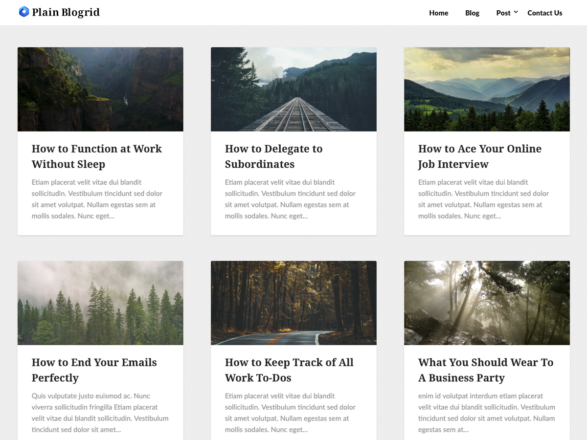 Plain Blogrid Preview Wordpress Theme - Rating, Reviews, Preview, Demo & Download