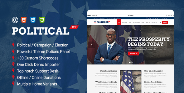 PoliticalWP Preview Wordpress Theme - Rating, Reviews, Preview, Demo & Download