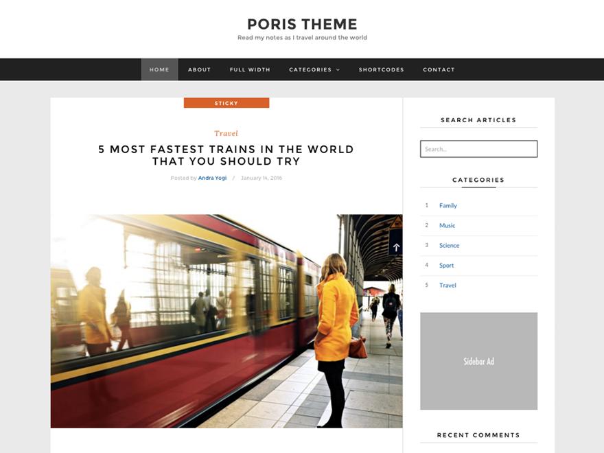 Poris Preview Wordpress Theme - Rating, Reviews, Preview, Demo & Download