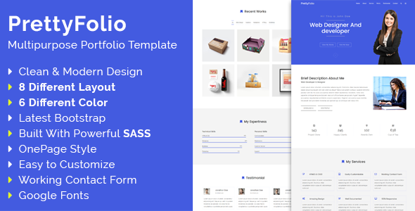 PrettyFolio Preview Wordpress Theme - Rating, Reviews, Preview, Demo & Download