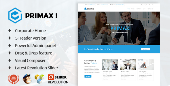 Primax Corporate Preview Wordpress Theme - Rating, Reviews, Preview, Demo & Download