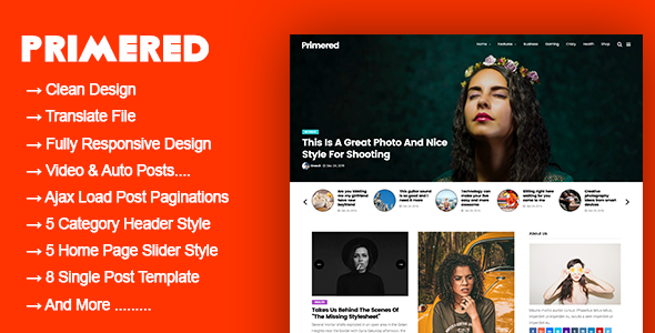 Primered Preview Wordpress Theme - Rating, Reviews, Preview, Demo & Download