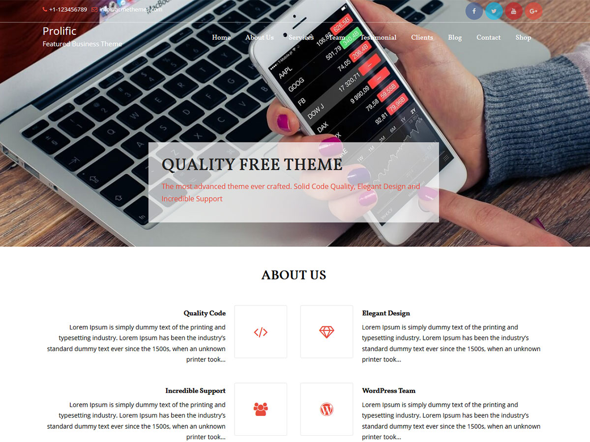 Prolific Preview Wordpress Theme - Rating, Reviews, Preview, Demo & Download