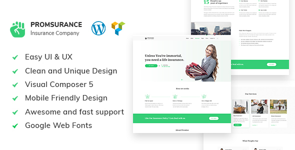 Promsurance Preview Wordpress Theme - Rating, Reviews, Preview, Demo & Download