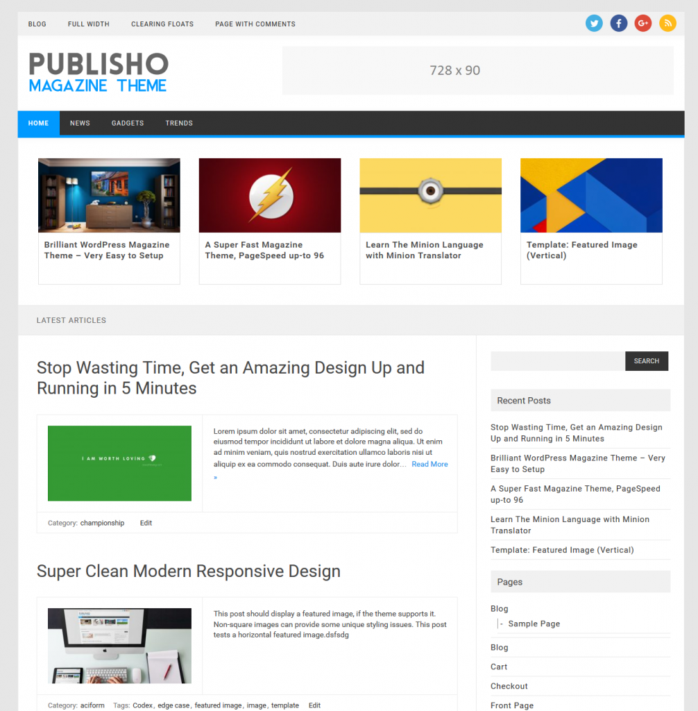Publisho Preview Wordpress Theme - Rating, Reviews, Preview, Demo & Download