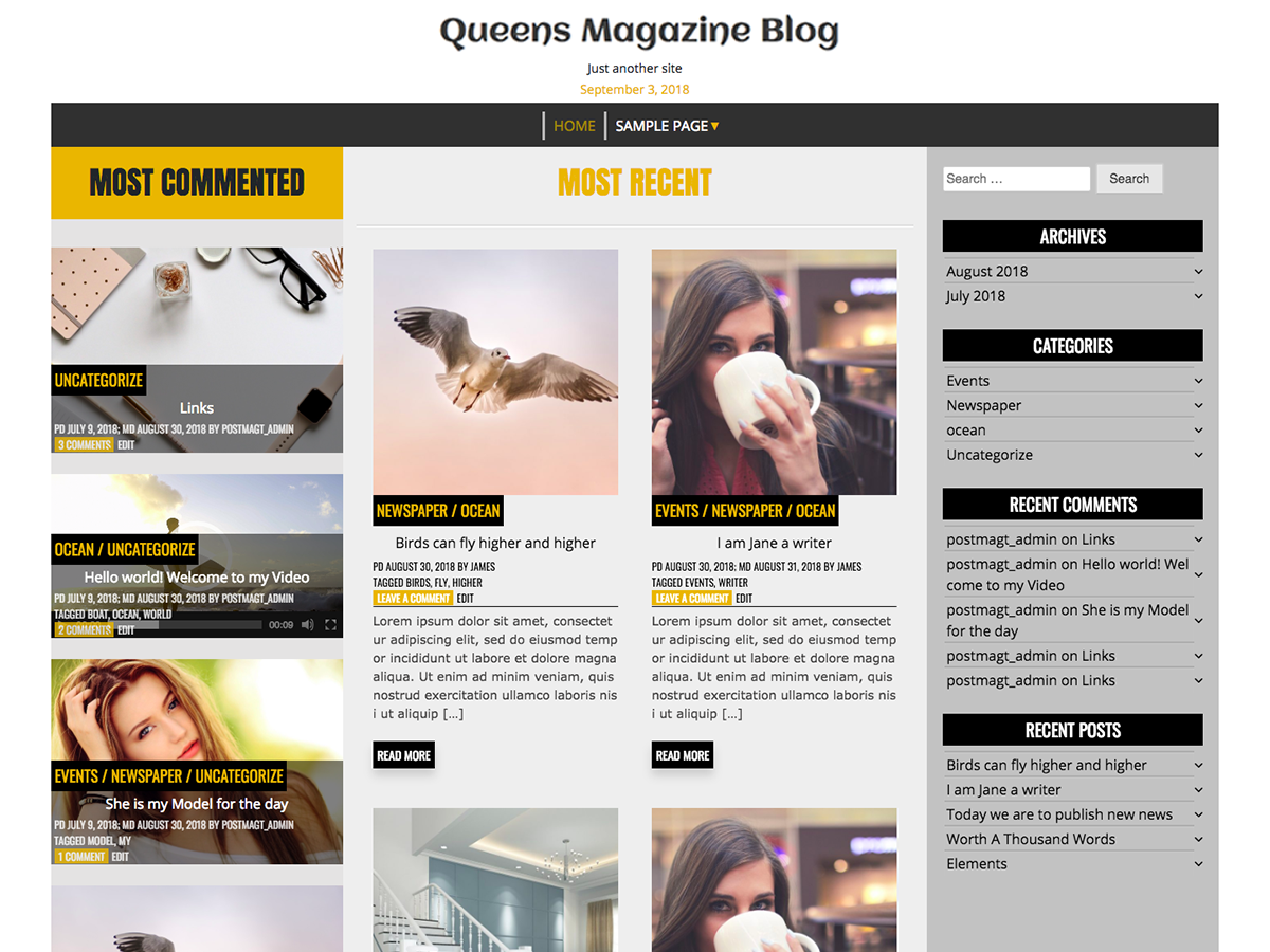 Queens Magazine Preview Wordpress Theme - Rating, Reviews, Preview, Demo & Download
