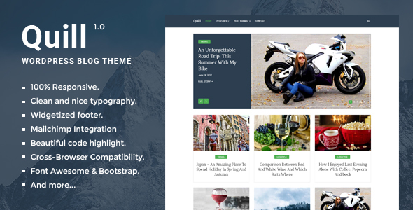 Quill Blog Preview Wordpress Theme - Rating, Reviews, Preview, Demo & Download