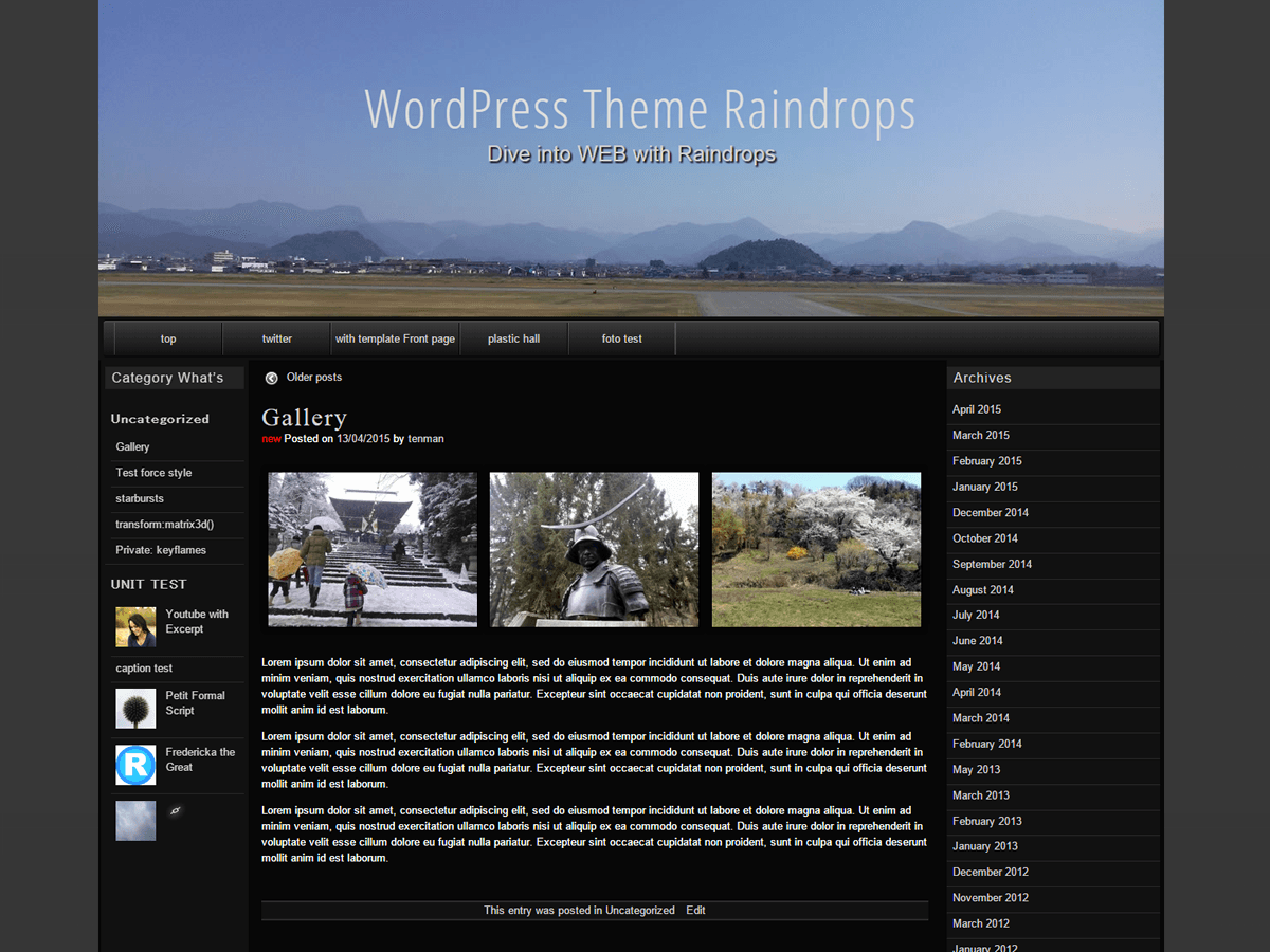 Raindrops Preview Wordpress Theme - Rating, Reviews, Preview, Demo & Download