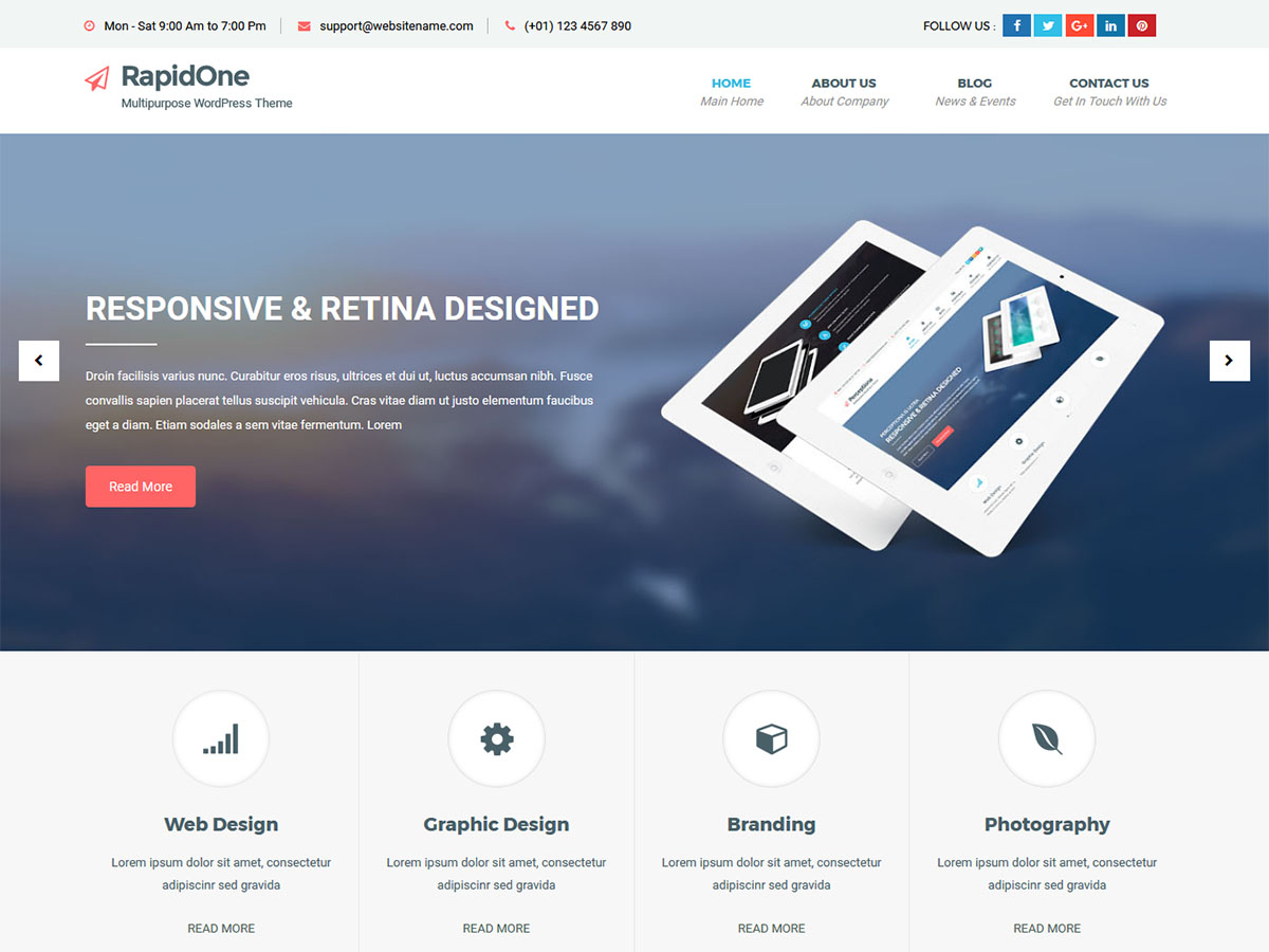 RapidOne Lite Preview Wordpress Theme - Rating, Reviews, Preview, Demo & Download