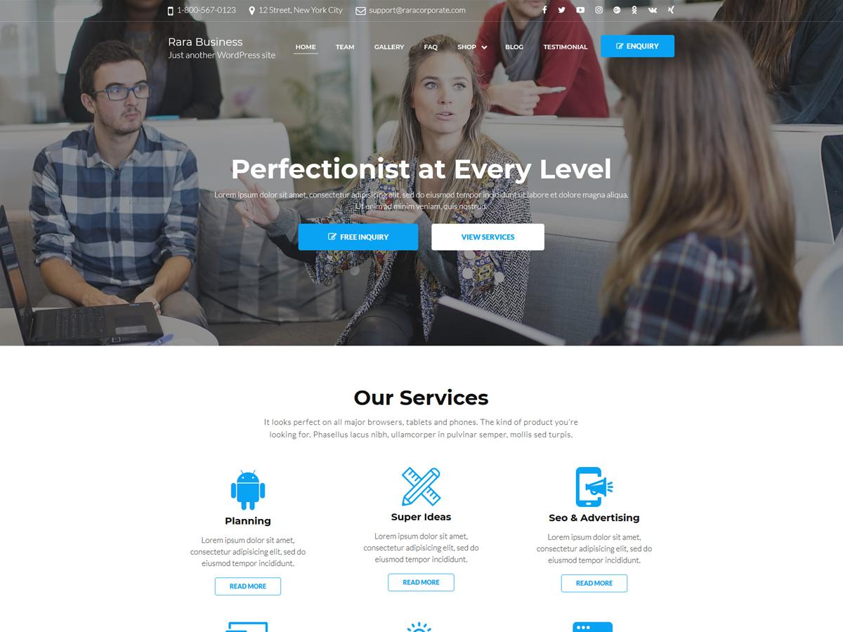 Rara Business Preview Wordpress Theme - Rating, Reviews, Preview, Demo & Download