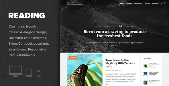 Reading Preview Wordpress Theme - Rating, Reviews, Preview, Demo & Download
