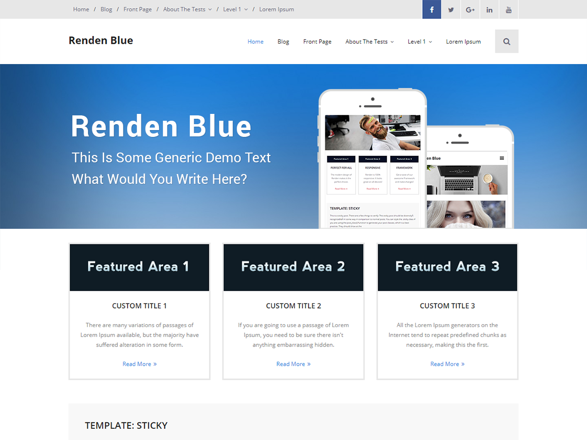 Renden Blue Preview Wordpress Theme - Rating, Reviews, Preview, Demo & Download