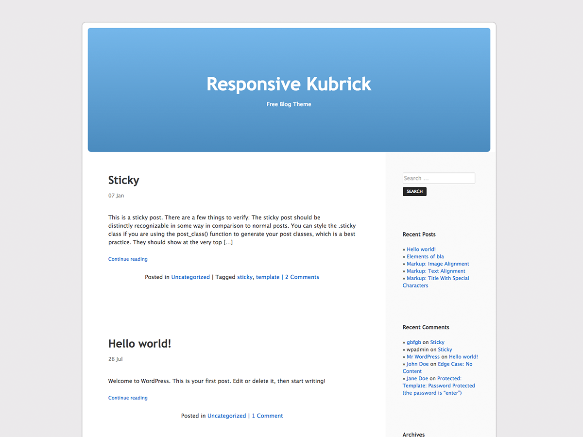 Responsive Kubrick Preview Wordpress Theme - Rating, Reviews, Preview, Demo & Download