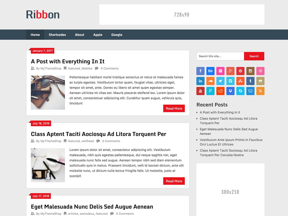 Ribbon Lite Preview Wordpress Theme - Rating, Reviews, Preview, Demo & Download