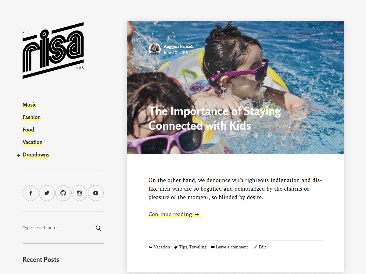 Risa Preview Wordpress Theme - Rating, Reviews, Preview, Demo & Download