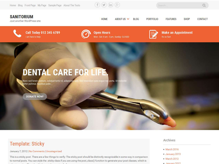 Sanitorium Preview Wordpress Theme - Rating, Reviews, Preview, Demo & Download