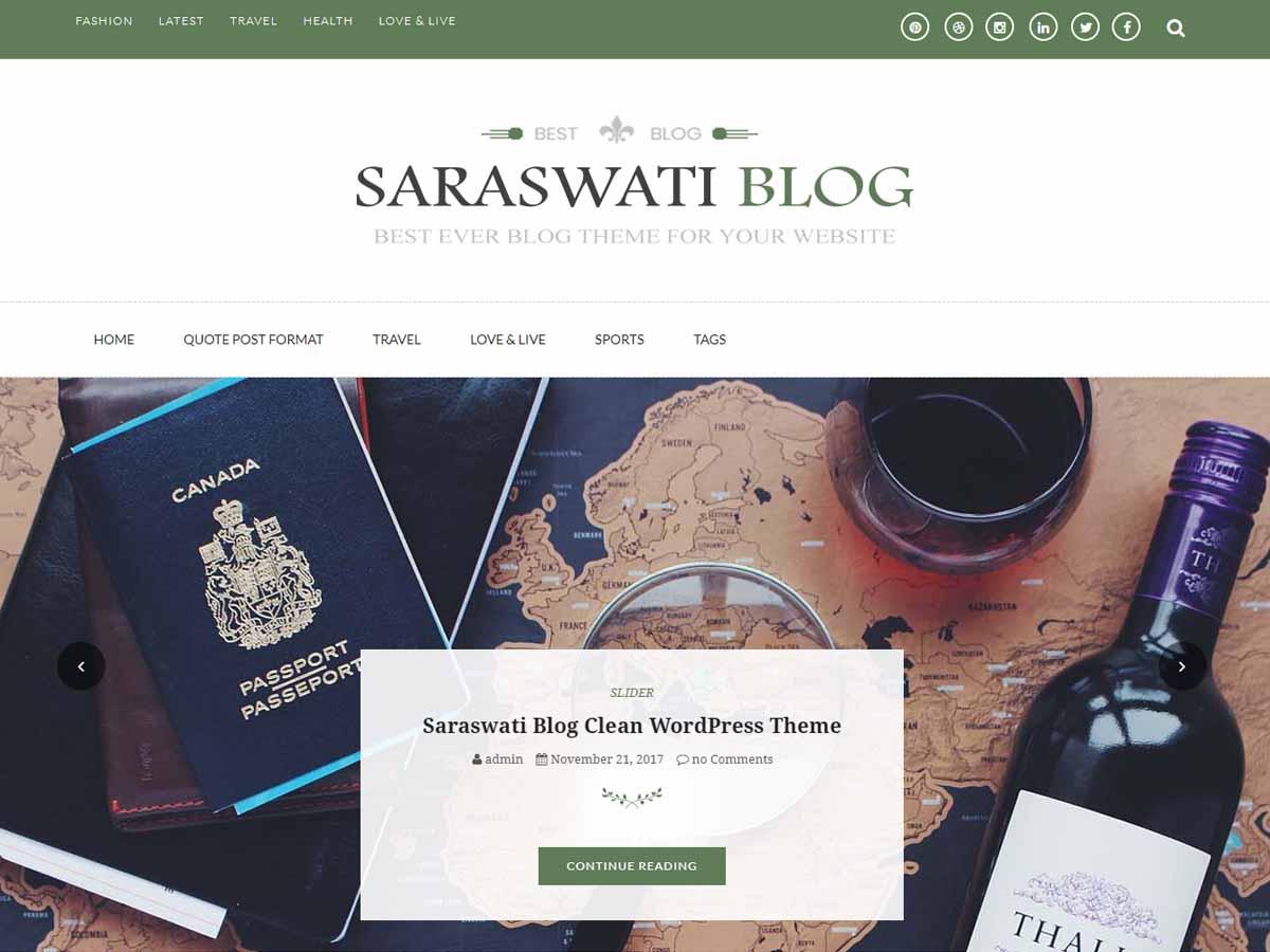 Saraswati Blog Preview Wordpress Theme - Rating, Reviews, Preview, Demo & Download