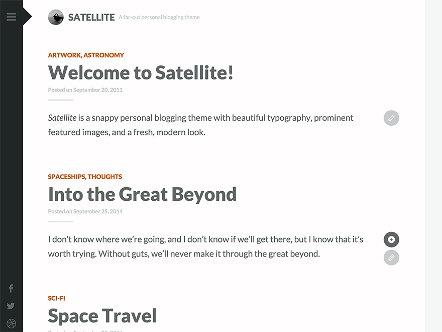 Satellite Preview Wordpress Theme - Rating, Reviews, Preview, Demo & Download