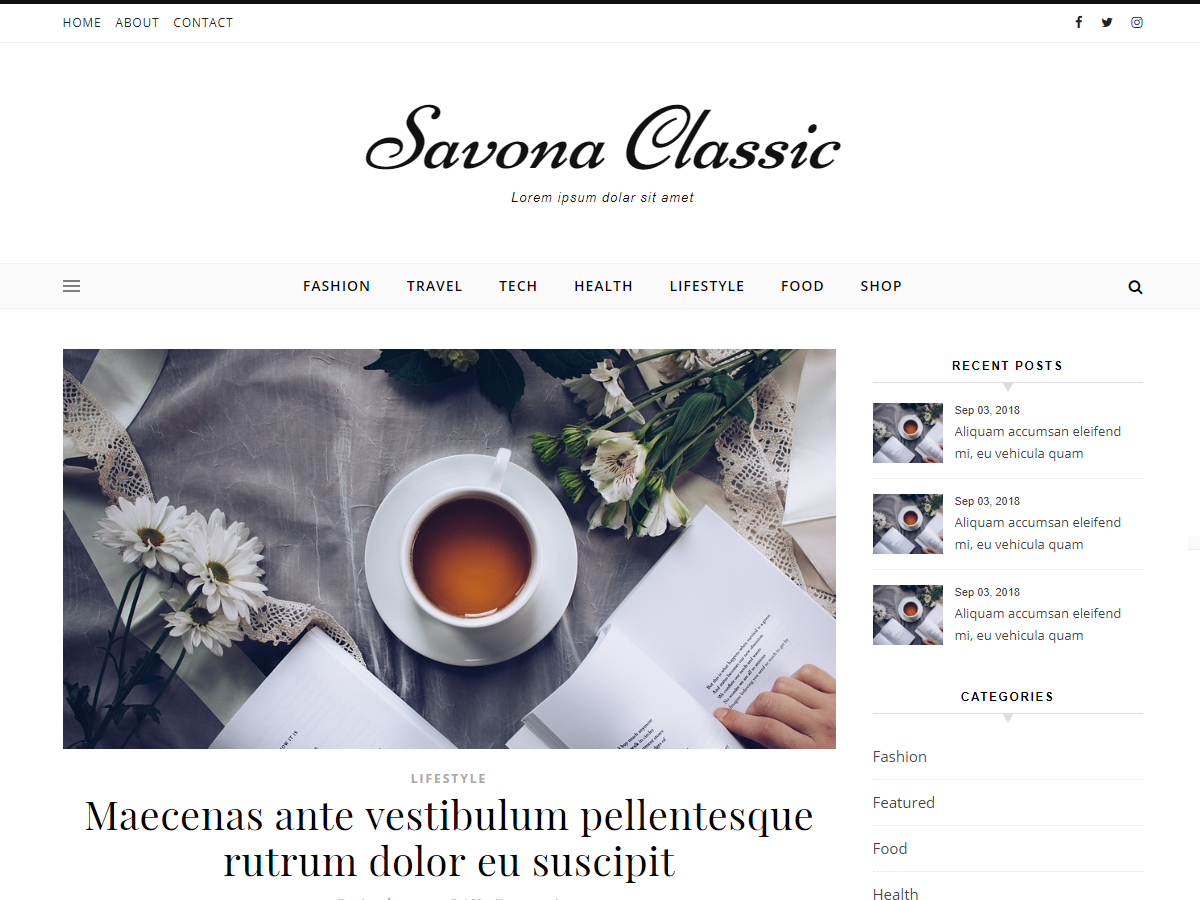 Savona Classic Preview Wordpress Theme - Rating, Reviews, Preview, Demo & Download