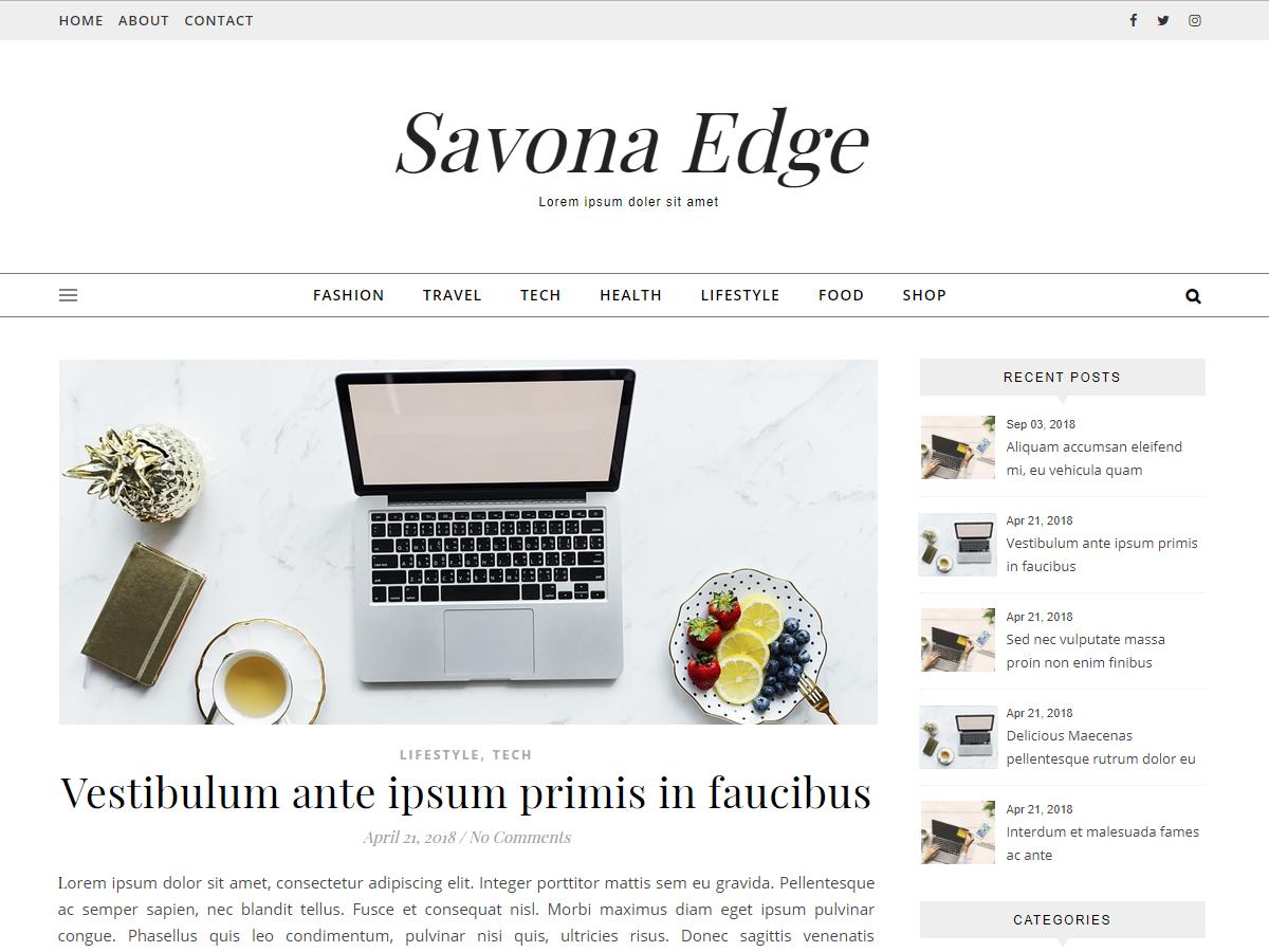 Savona Edge Preview Wordpress Theme - Rating, Reviews, Preview, Demo & Download