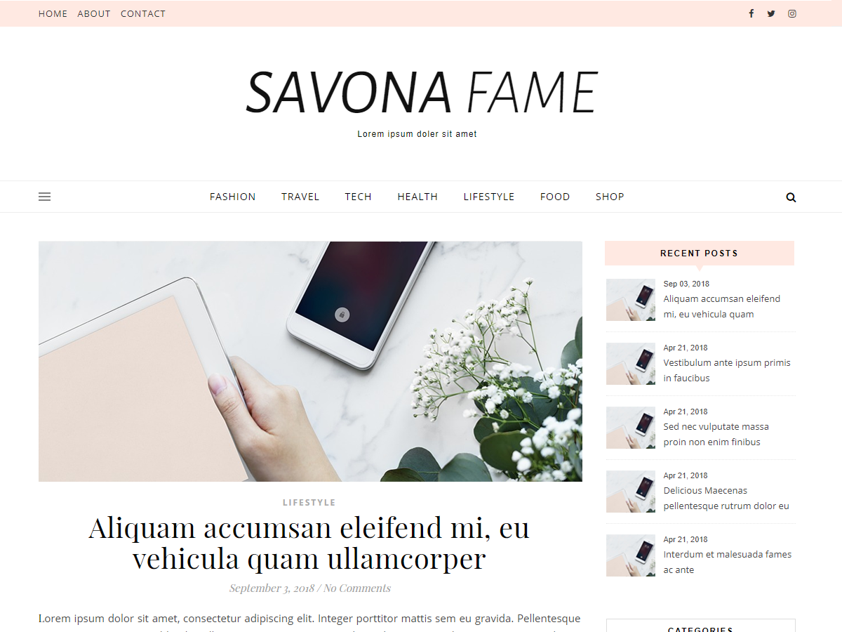 Savona Fame Preview Wordpress Theme - Rating, Reviews, Preview, Demo & Download