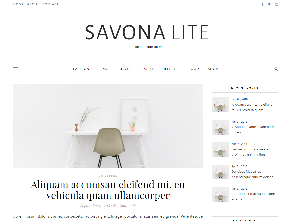Savona Lite Preview Wordpress Theme - Rating, Reviews, Preview, Demo & Download