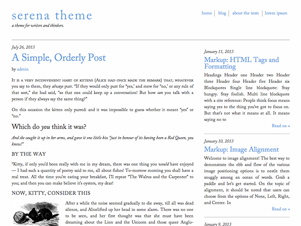 Serena Preview Wordpress Theme - Rating, Reviews, Preview, Demo & Download