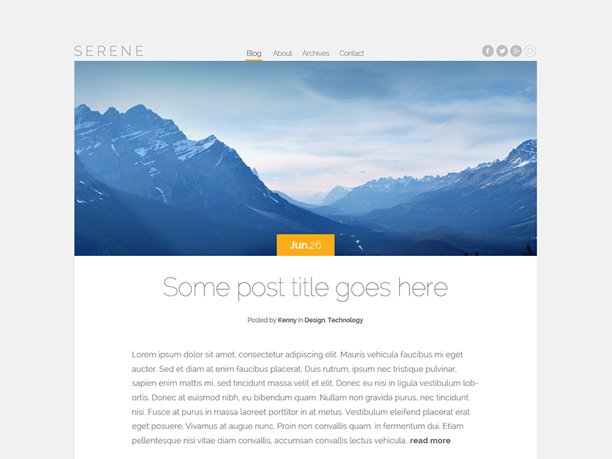 Serene Preview Wordpress Theme - Rating, Reviews, Preview, Demo & Download