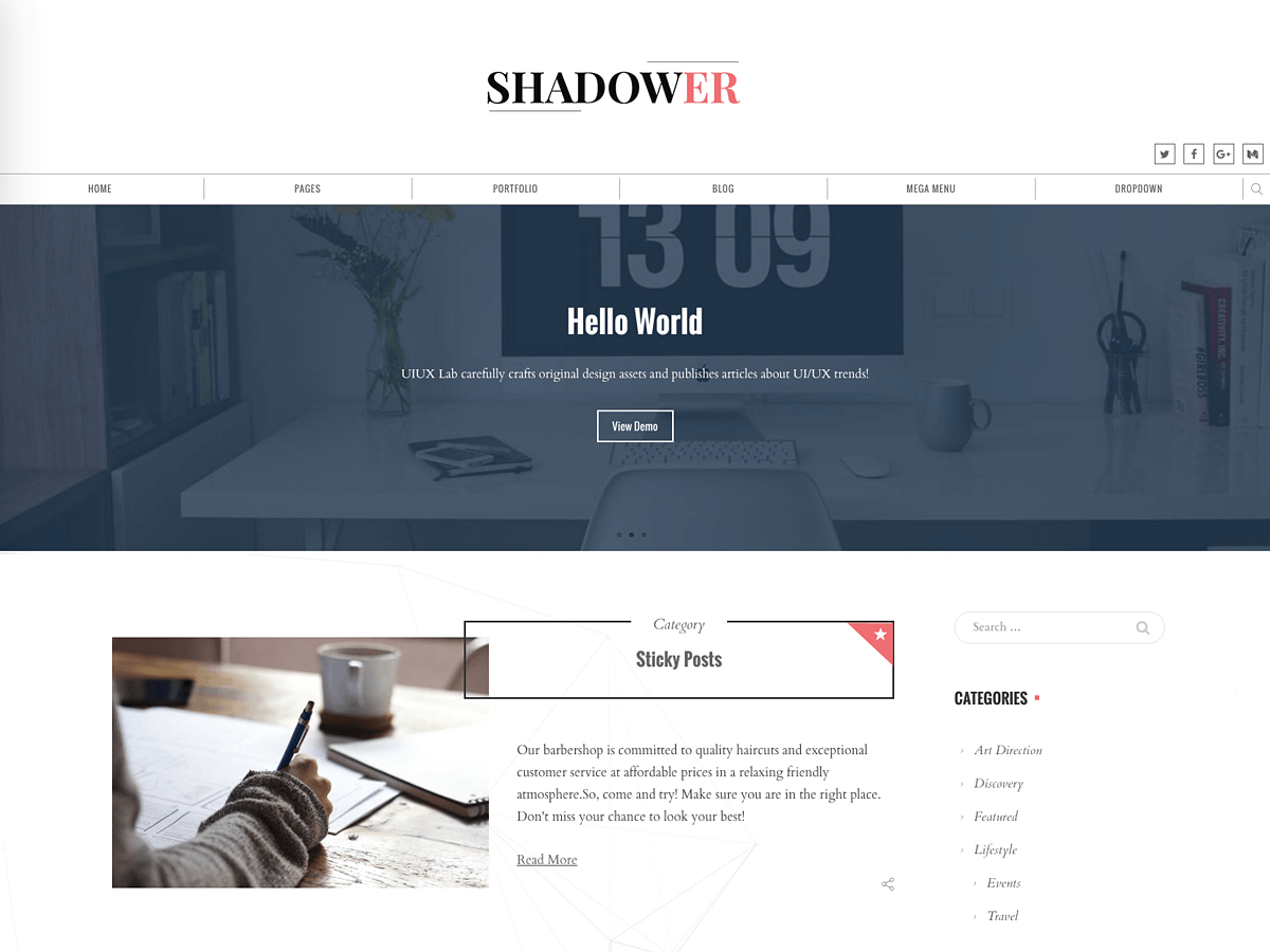 Shadower Preview Wordpress Theme - Rating, Reviews, Preview, Demo & Download