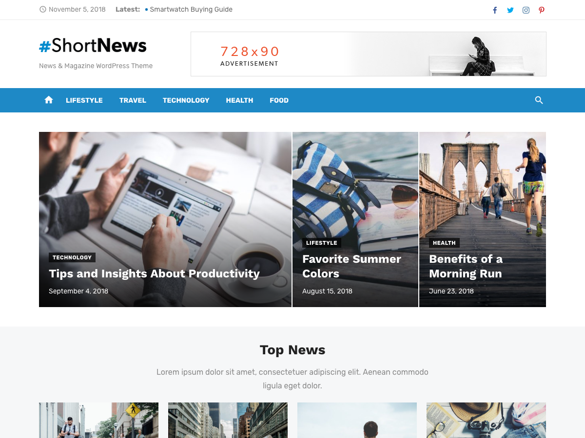 Short News Preview Wordpress Theme - Rating, Reviews, Preview, Demo & Download