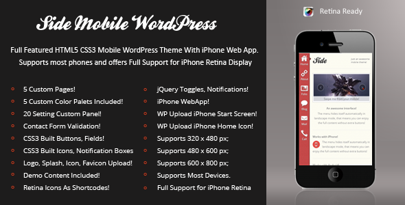 Side Mobile Preview Wordpress Theme - Rating, Reviews, Preview, Demo & Download