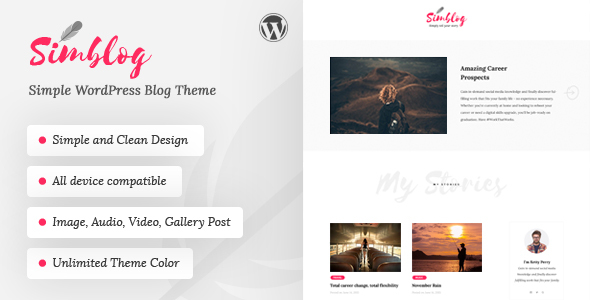 Simblog Preview Wordpress Theme - Rating, Reviews, Preview, Demo & Download