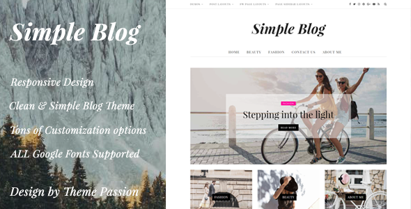 Simple Blog Preview Wordpress Theme - Rating, Reviews, Preview, Demo & Download