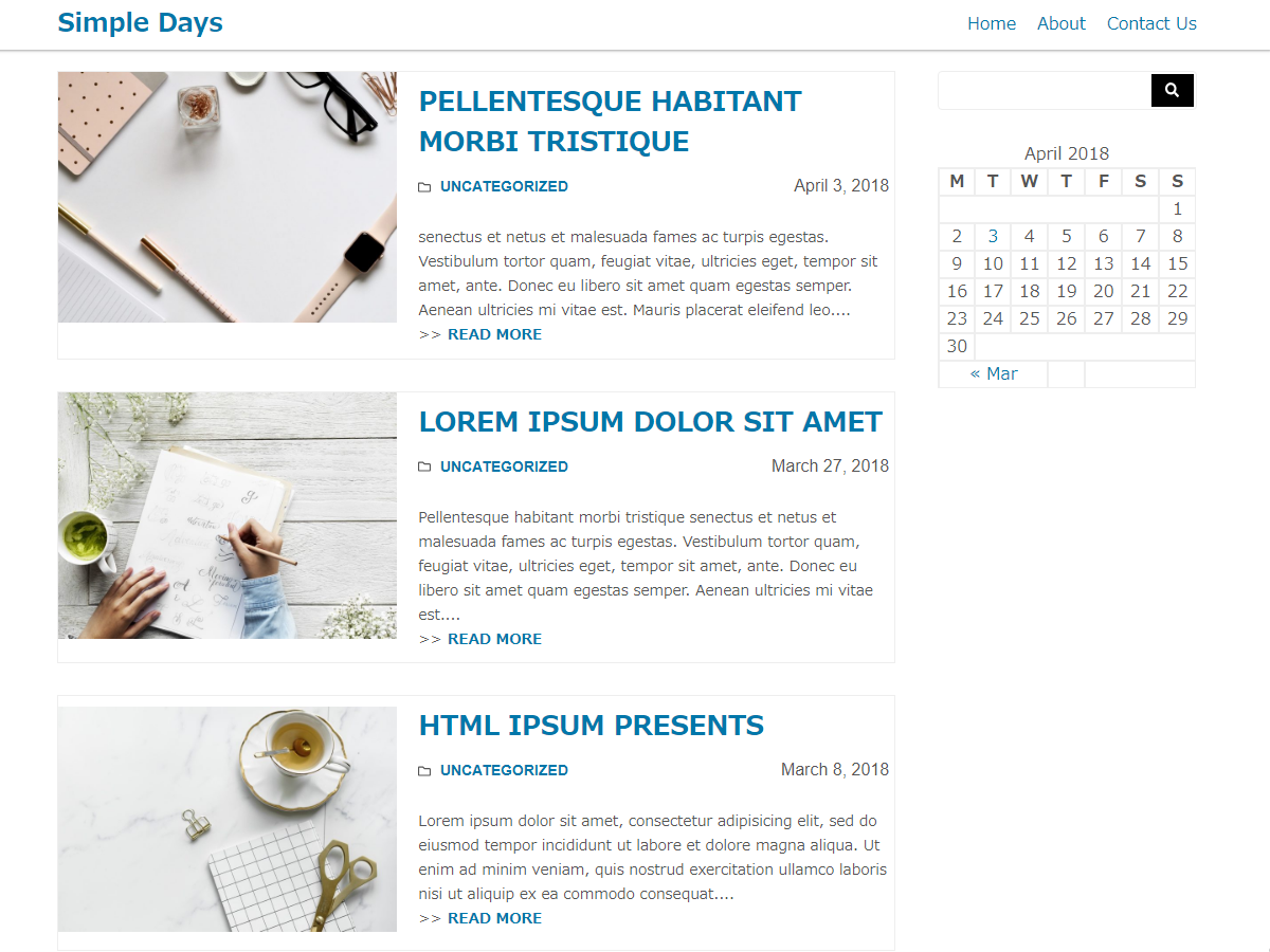 Simple Days Preview Wordpress Theme - Rating, Reviews, Preview, Demo & Download